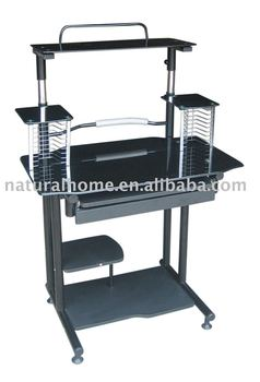 Glass computer table black ktyf 89014 buy glass for Furniture 89014