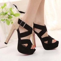 SC1036 2014 Summer New European and American High-heeled Shoes Fish Head Waterproof Roman Leather Sandals For Women