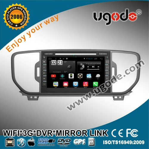 ugode Android 4.4.2 Car DVD with GPS for 2016 kia new sportage 1080P H264 video display