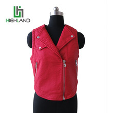 fashion print vest for autumn,women sleeveless leather jacket leather motorcycle vest