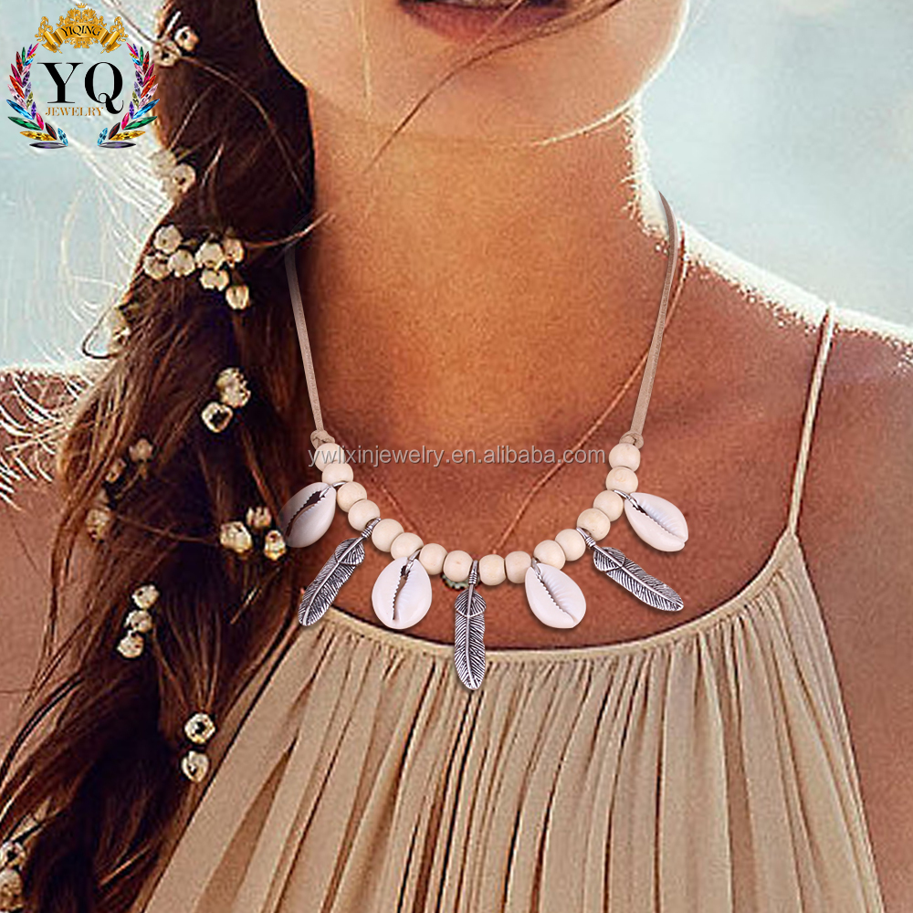 NLX-00838 2017 fashion wood bead natural shell with feather beach style shell necklace