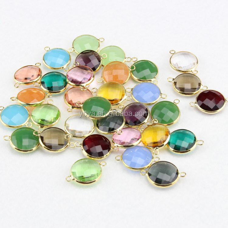 Jfg0505 Wholesale Crystal Gemstone Bezel Round Connectors