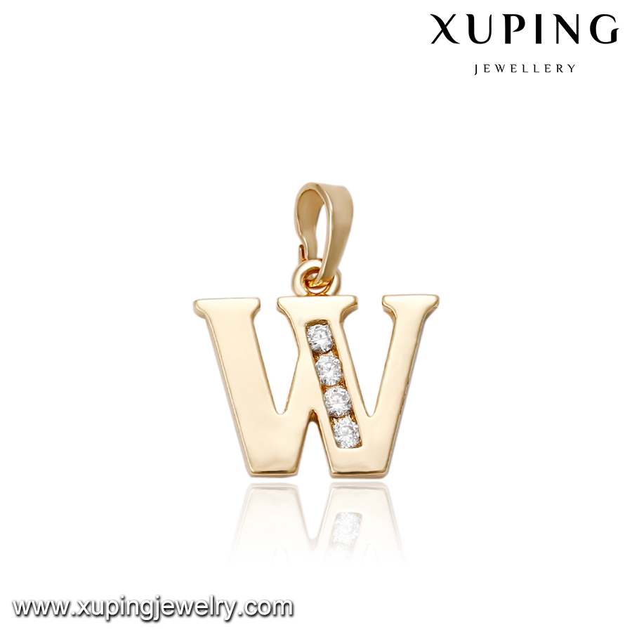 33017 Alphabet fashion gold designed letter W pendant jewelry inlay rhinestone pendant