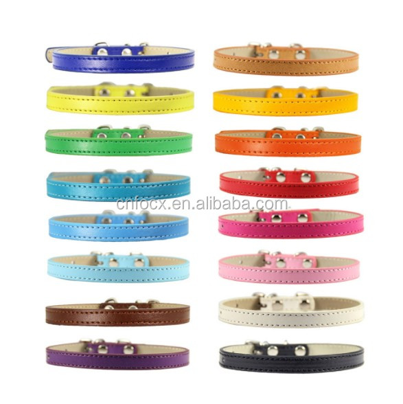 New design PU Leather Pet Solid Soft Collar / dog Neck Strap / Pet Dog Collar For Puppy Cat