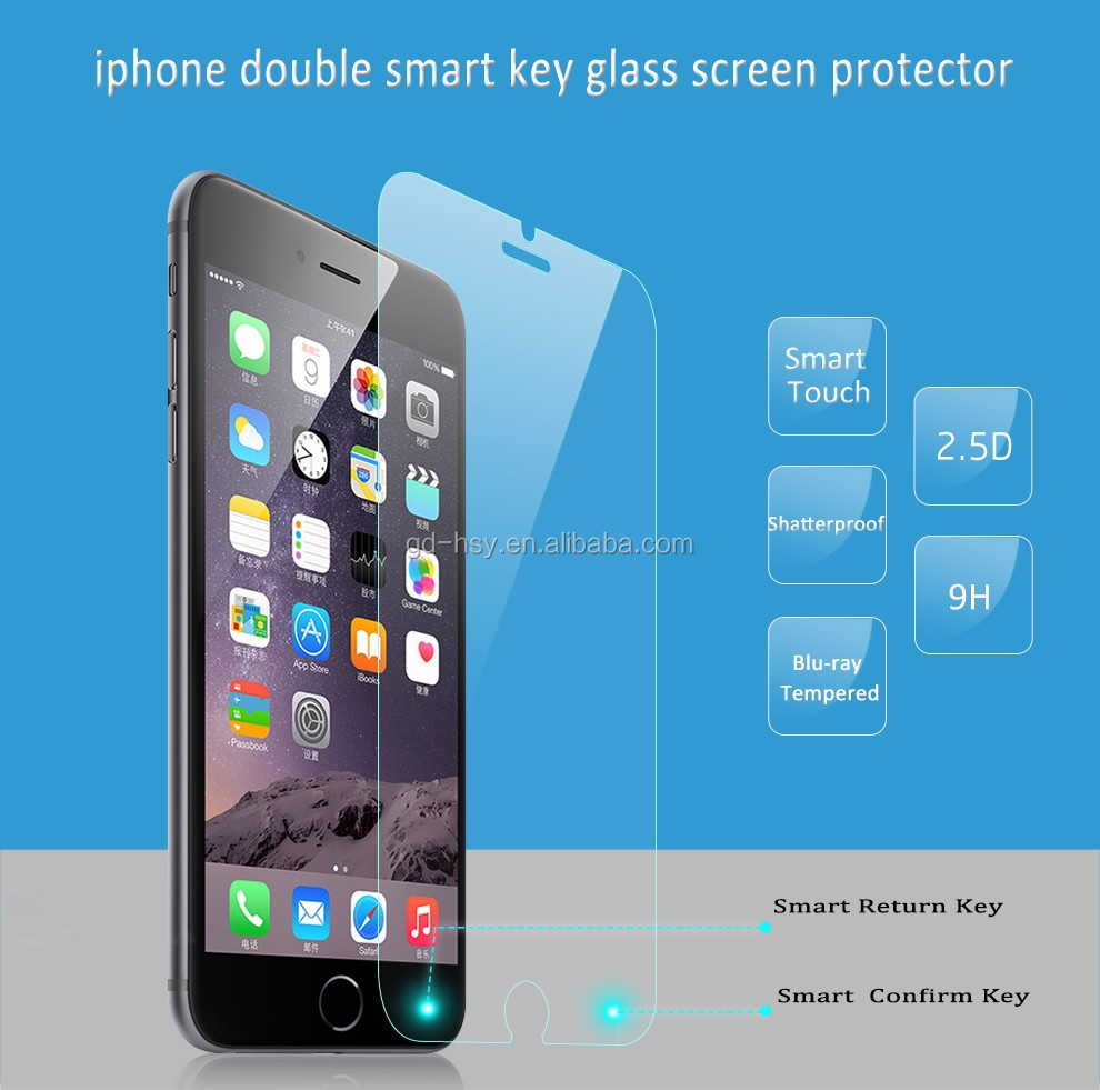 HUYSHE 9H Smart Touch Screen Guard for iphone6 6plus Smart key Tempered Glass Screen Protector with Back and Confirm Button
