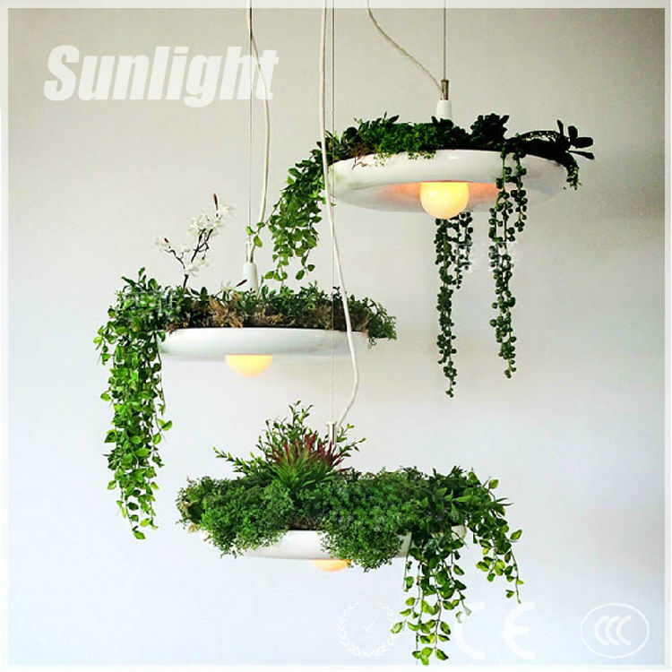 industrial vintage Aluminun Hanging Pendant Lighting Chandelier/droplight With environmental Fresh Plant