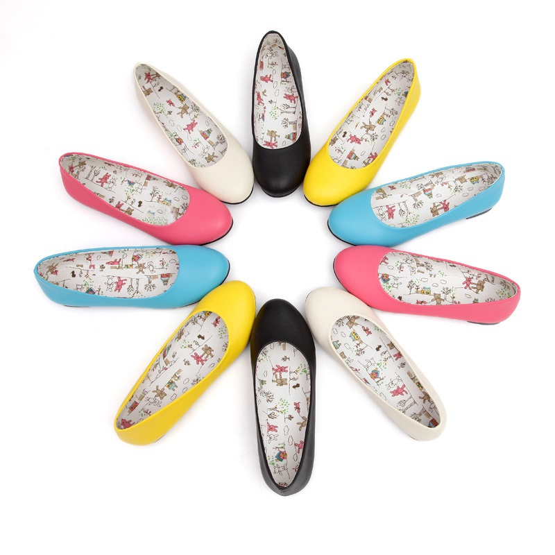 New Fashion Round toe Slip-On Loafers Solid Color Casual Sweet Women flats Black Yellow Blue Beige Red Flat Shoes