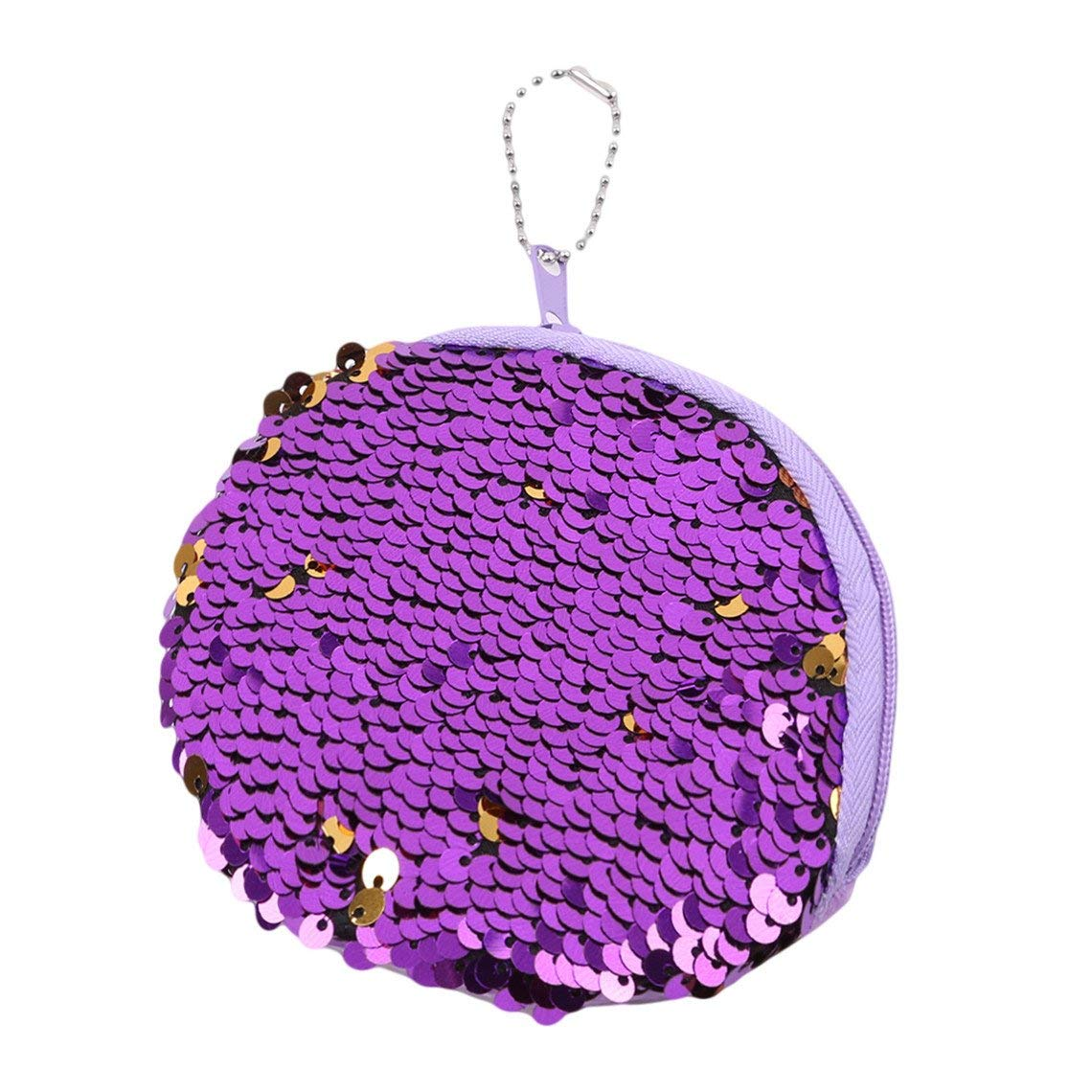 Rurah Portable Mermaid Sequin Coin Purse Mini Glitter Wallet Shiny Clutch Pouch Zip with Key Chain Wallet,purple