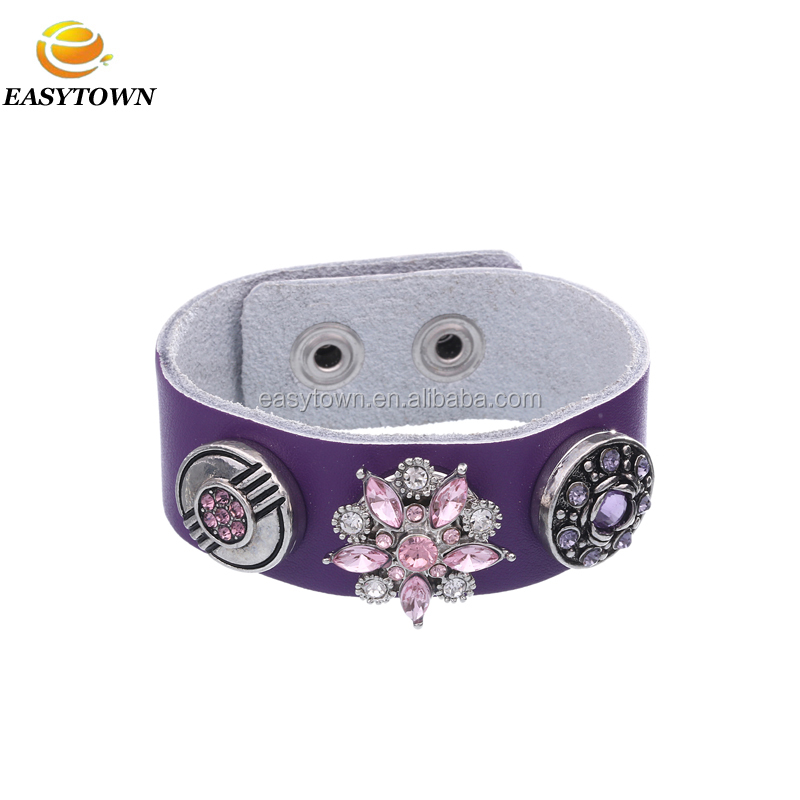 Fashion 18mm leather bracelet with interchangeable snap buttons charms