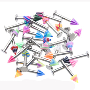 Colorful Cone Lip Piercing 14G labret ring jewelry