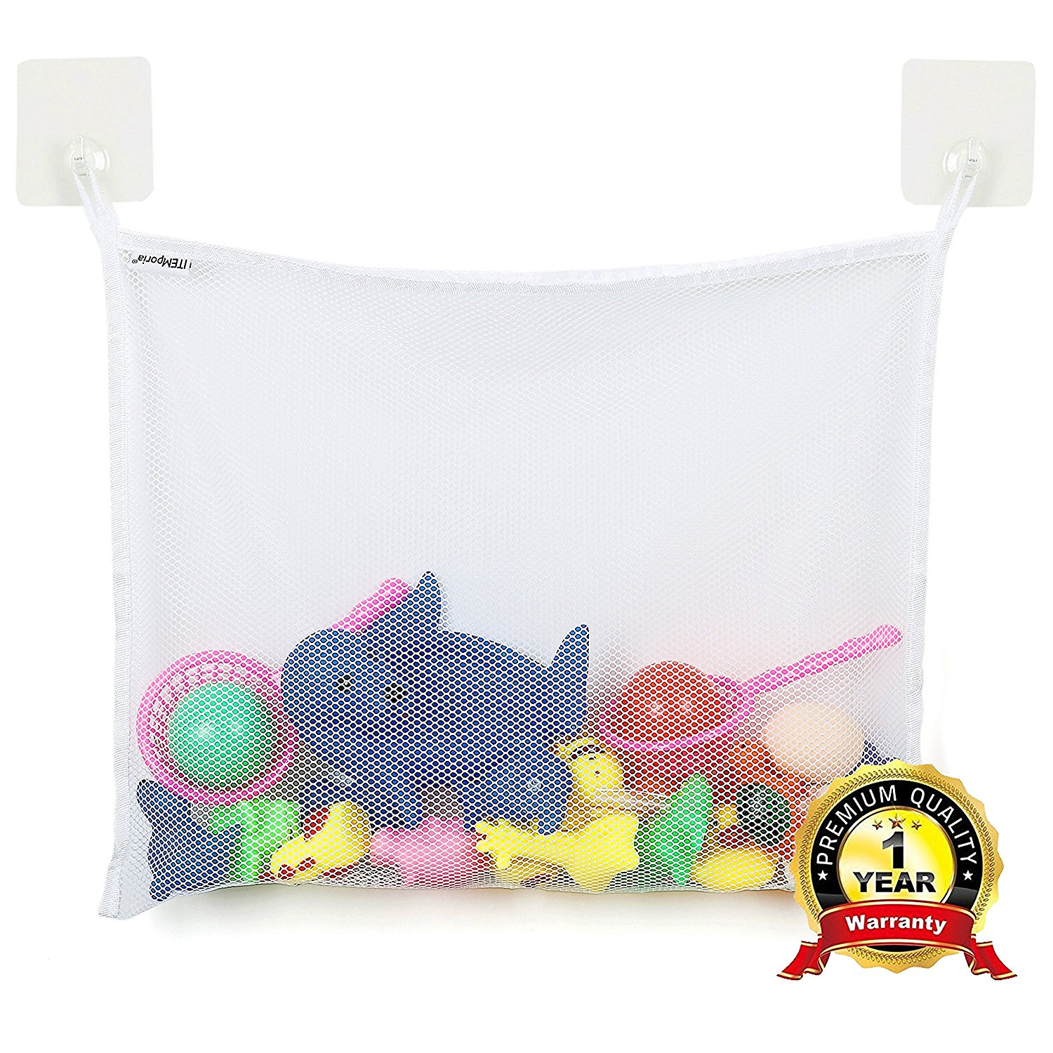 ITEMporia Bath Toy Organizer with 2 Super Strong Adhesive Hooks - Bathtub Toys Holder Storage Net for Stuffed Animals - Bathroom Shower Kids Toy Bag Hammockfor Toddlers, Baby Boys and Girls