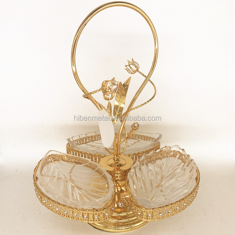 hot top elegant antique gold glass leaf snack charger plates/dishes/tray wholesale for wedding hotel restaurant home decoration