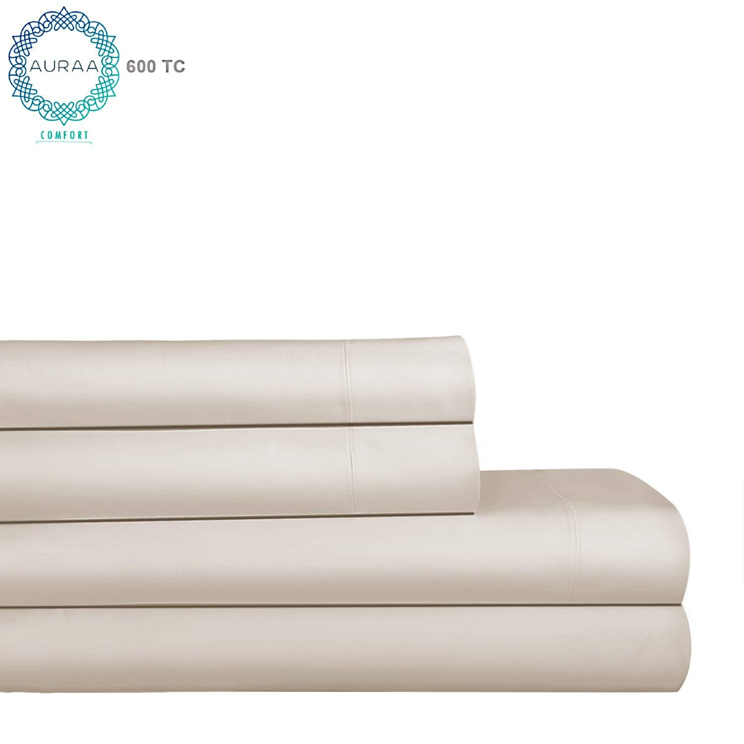 """AURAA Comfort 600 Thread Count 100% AMERICAN SUPIMA Long Staple Cotton Sheet Set,4 Piece Set, FULL SHEETS SATEEN Weave,Hotel Collection Soft Luxury Bedding,Fits Upto 18"""" Deep Pocket,IVORY"""