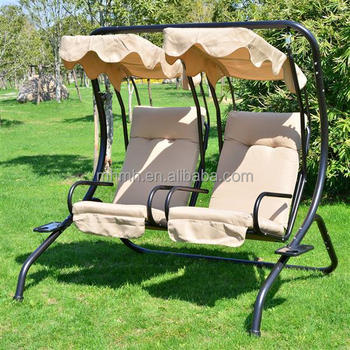 Outdoor Garden Patio Covered Double Swing Chair W Frame Sand