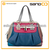 Fashion cheap genuine leather satchel bag blue