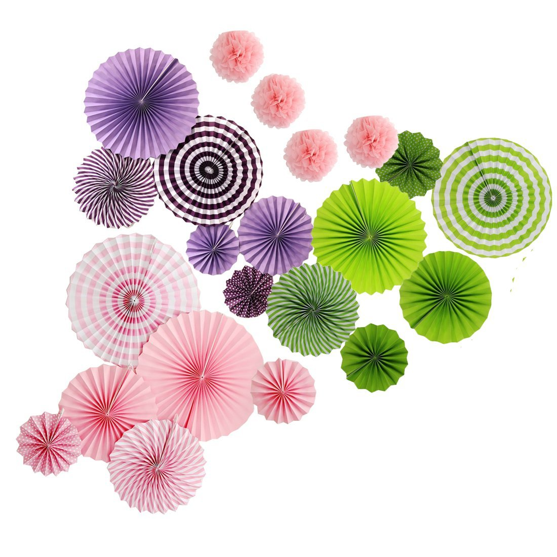 Get Quotations · 18pcs Hanging Decorative Folding Paper Fan Flowers and  4pcs Tissue Paper Pom Poms Kit For Wedding 26811ceca7