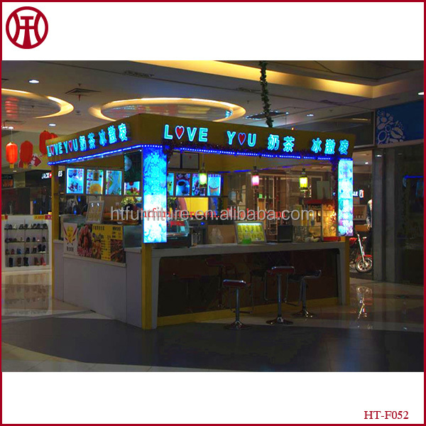 High end indoor mall ice cream kiosk shop interior design for sale