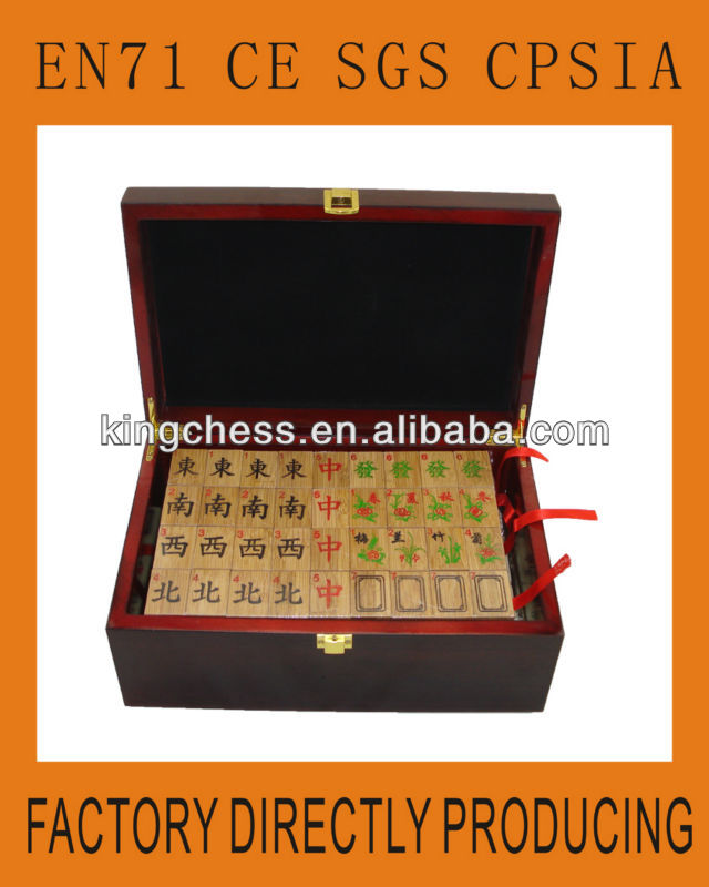 Bamboo Mahjong Manufacturer With Customized Logo Wooden Box