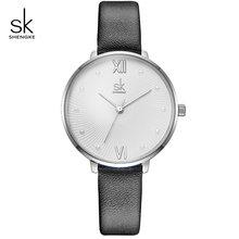 Женские кварцевые часы Shengke, повседневные часы с жемчужным циферблатом, белые кожаные женские часы Reloj Mujer, подарок на день, 2019(China)