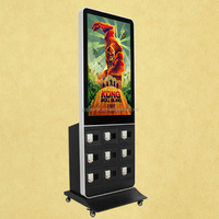 42 inch Motion Sensor High Resolution Floor Stand Digital Signage With Phone Charging Kiosk LCD Display