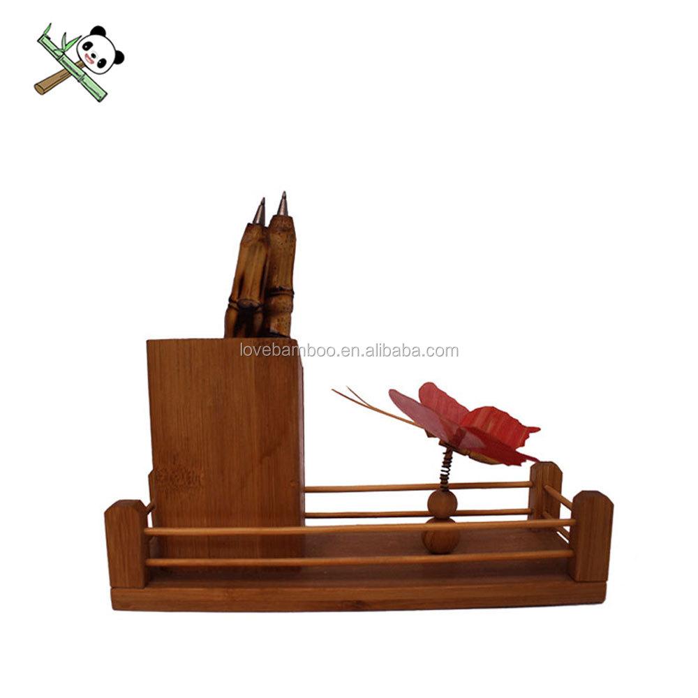 200*110mm Dier-vormige soorten bamboe potlood houder met bamboe houten potloden, houten pen container