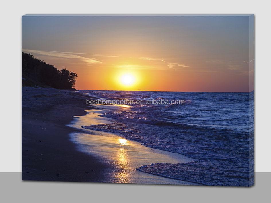 Sunset Over Beach Scene Light Up Painting Canvas Landscape