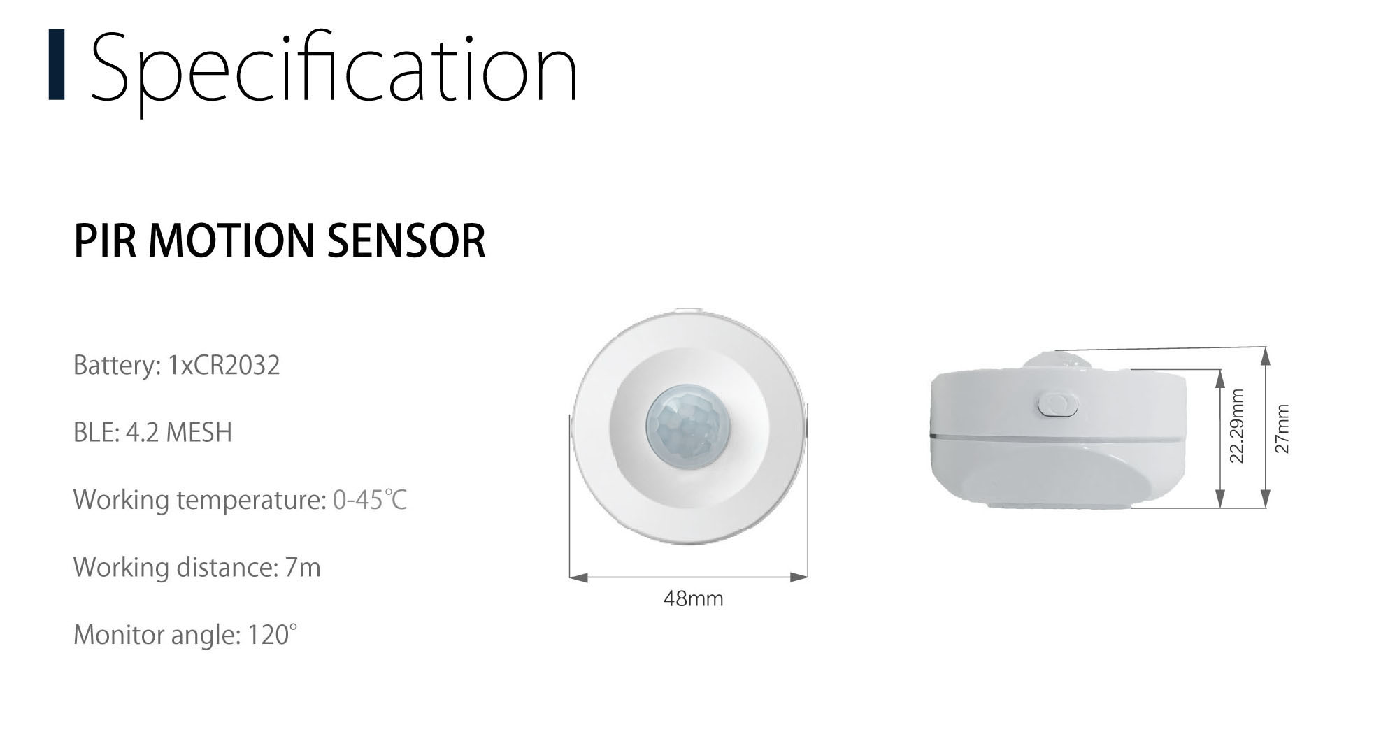 HH Wireless Bluetooth Mini PIR Motion Sensor TUYA for home security