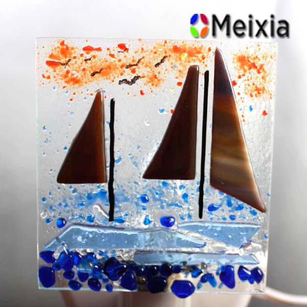 MX170182 Fused glass palm tree and boat night light for Kids bedroom