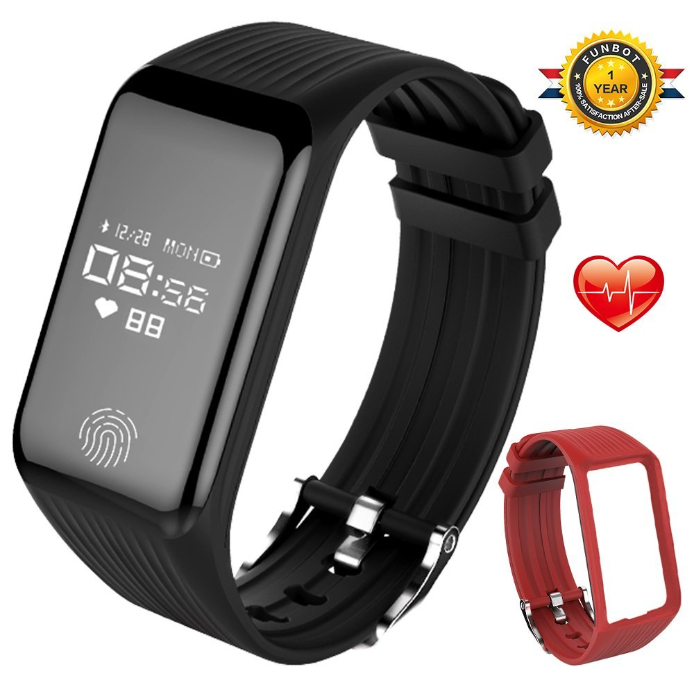 Fitness Tracker,FUNBOT B3 Watch:Activity Tracker Smart Band with Heart Rate Monitor&Sleep Monitor,IP67 Waterproof Smart Bracelet Pedometer Wristband with Replacement Band for iOS & Android