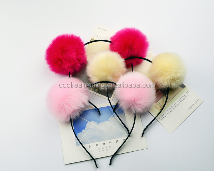 8cm children cosplay party head band fake fur ball pom pom hairbands for christmas