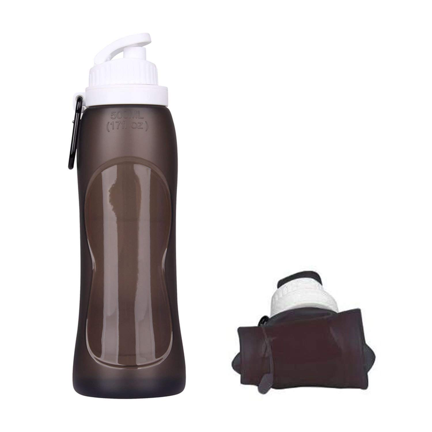 Collapsible Silicone Water Bottle FDA-approved BPA Free Leak-Proof LightweightFoldable Roll Up for Outdoors, Hiking, Camping, Biking,Sports and Traveling,17Ounces 500ml