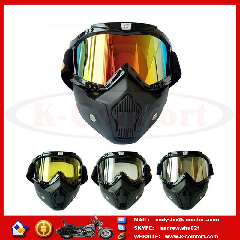 L1KC09 High quality best Motorcycle helmet goggles outdoor riding removable mask for Harley