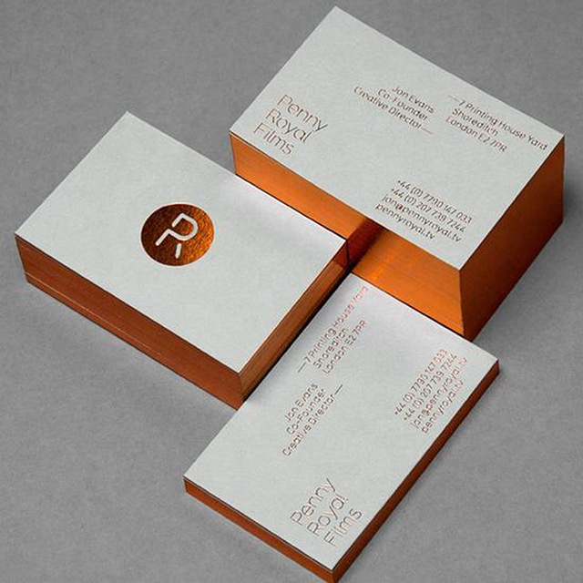 600gsm Cotton Paper Edge Colored Custom Letterpressed Business Card Printing