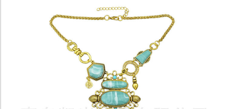 N53-124 gold plated fashion jewelry blue stone multi charms filigree pendant necklace