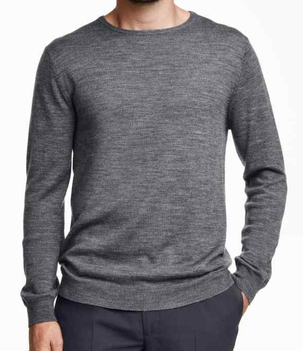 mens round neck long sleeve pullover in merino wool thin grey plain knitted sweater