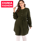 2072# Moroccan Shirt Design Ladies Plain Dressy Plus Size Muslim Women Long Tunic Tops For Women Blouse With White Pearls