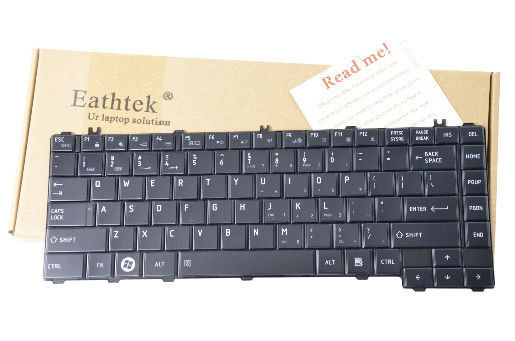 Eathtek New Laptop Keyboard for Toshiba Satellite AETE2P00010-US MP-09M73US6920 NSK-TM0GV 01 9Z.N4VGQ.001 9Z.N4VSQ.001 9Z.N4VGV.001 NSK-TM0GQ AETE2U00010 AETE2U00020 6037B0049202 A000070640 A000070650 A000070720 A000070730 V000240810 V000240070 9Z.N4VGV.001 NSK-TM0GV MP-09M73US-6930 series Glossy