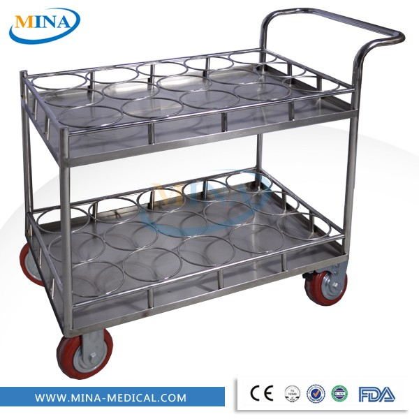 MINA-DC002 Cheap&mobile medicine stainless steel water bottle trolley