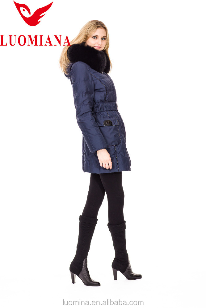 Exclusive Design Navy Women Winter Jackets Long Style With Real Fur Collar 812Y9025