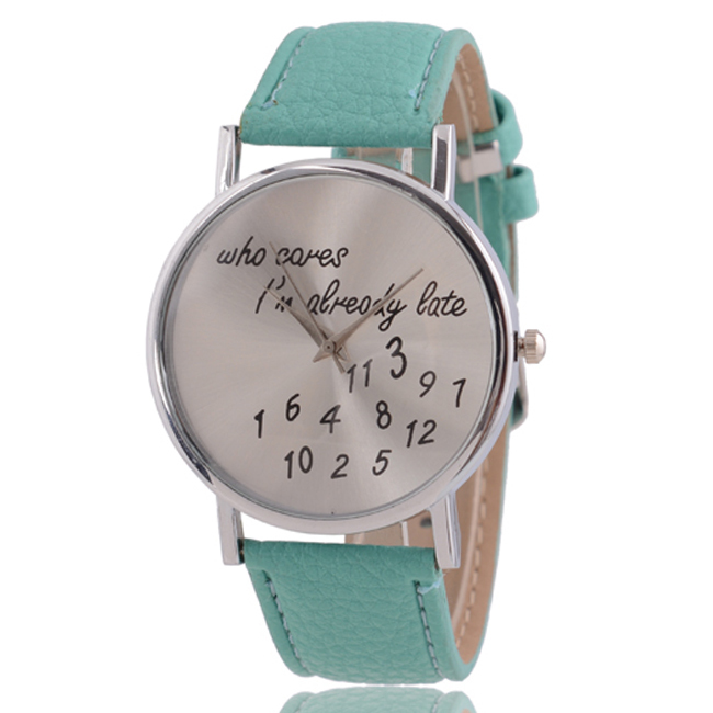 Relojes Mujer 2015 New girls quartz watch women watches Fashion Casual Leather wristwatch Words Who Cares clock relogio feminino