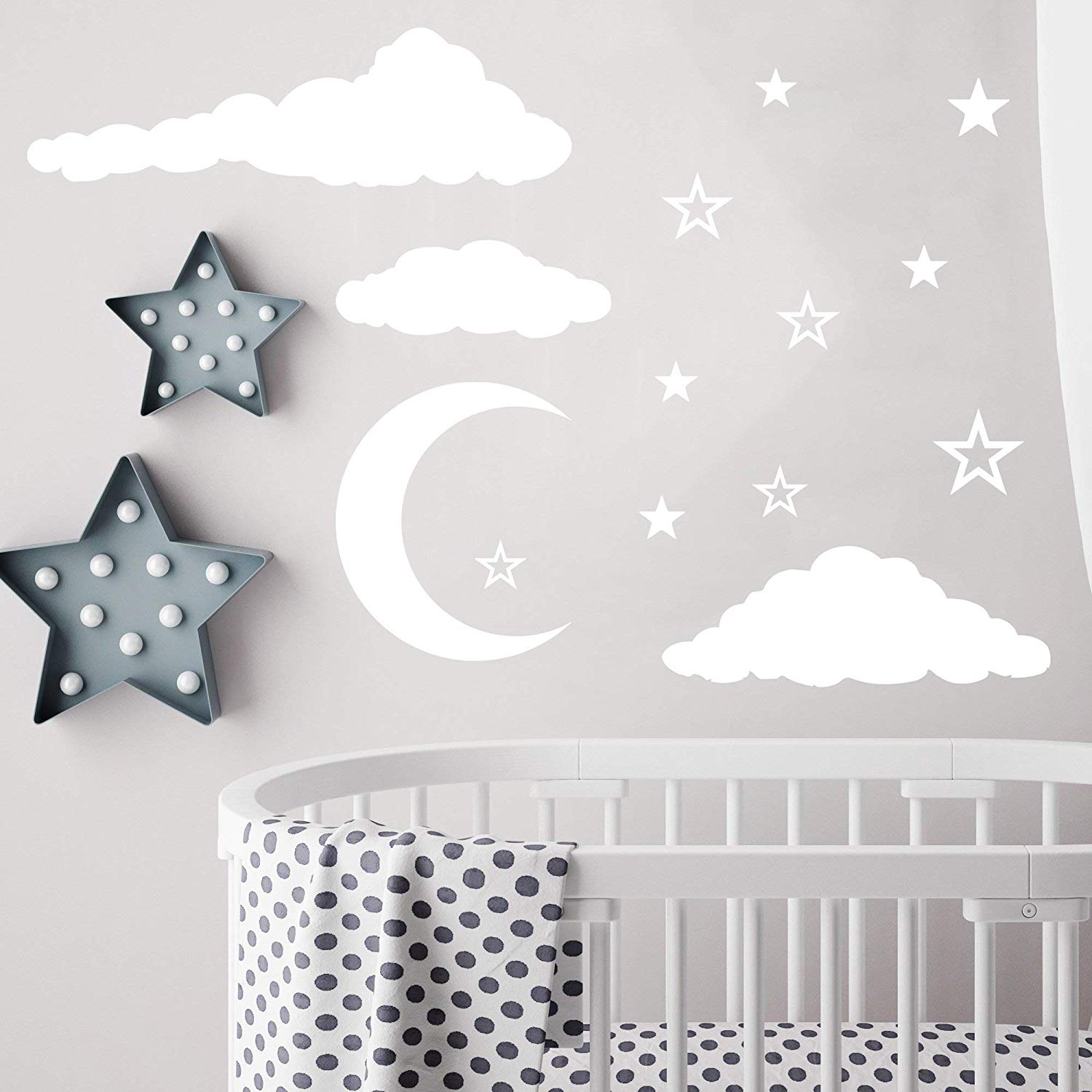 Cloud Wall Decals/Moon and Stars Wall Decals/Nursery Wall Decal. Star Wall Decal. Moon and Stars Wall Stickers. Wall Vinyl Sticker Nursery. Baby Room Decor Art kp3