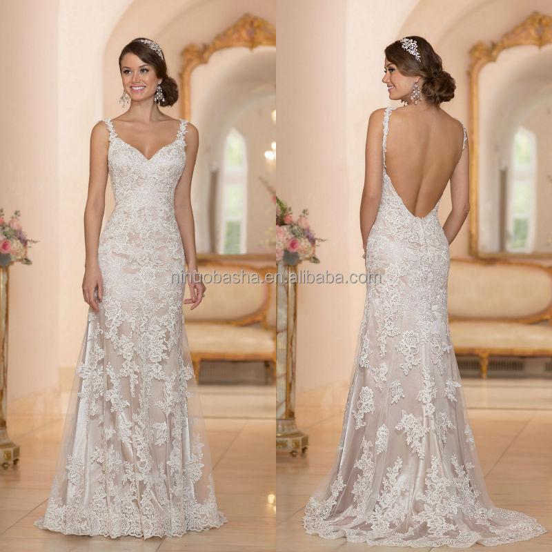 vestidos de novia encaje escote v