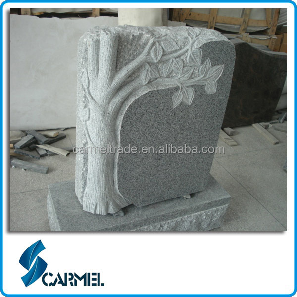 European Style Natural Granite Carved Tree Headstone