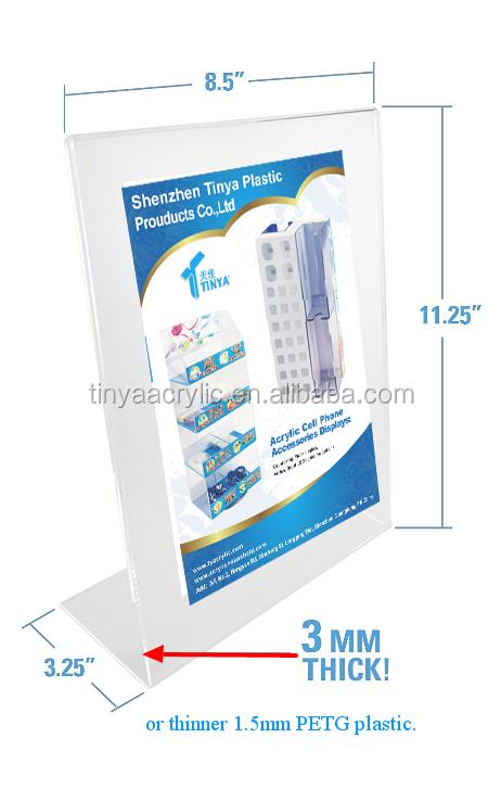 """Desktop 11""""x8.5""""x2.5"""" 3mm thick Deflect slant back brochure holder acrylic sign holder"""