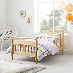 Sleigh-Style Design Toddler Bed (Natural)