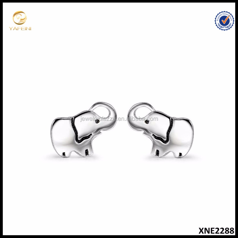 Wholesaler Silver Jewelry 925 Sterling Silver Luck Tiny Lovely Baby Elephant Stud Earrings