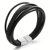 Black Braided Genuine Leather Bracelet Men,Custom Magnetic Mens Bracelets