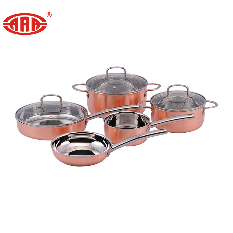 5 Pcs Tri-ply Copper Plated Stainless Steel Cooking Pot Set