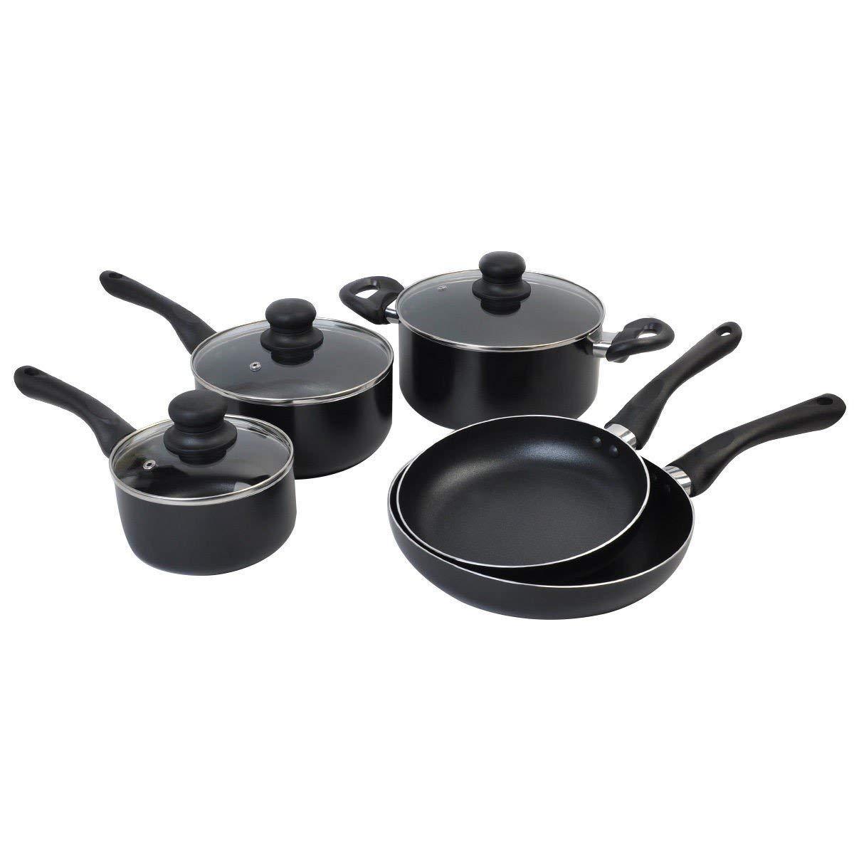 8 Piece Non Stick Cookware Set Aluminum Soft Handle Kitchen Cooking Black