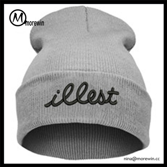 2017 Morewin High quality plain knit beanie with custom tags